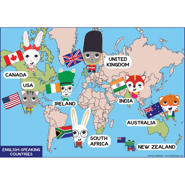 English speaking countries clipart banner free Poster: Main English-speaking countries banner free