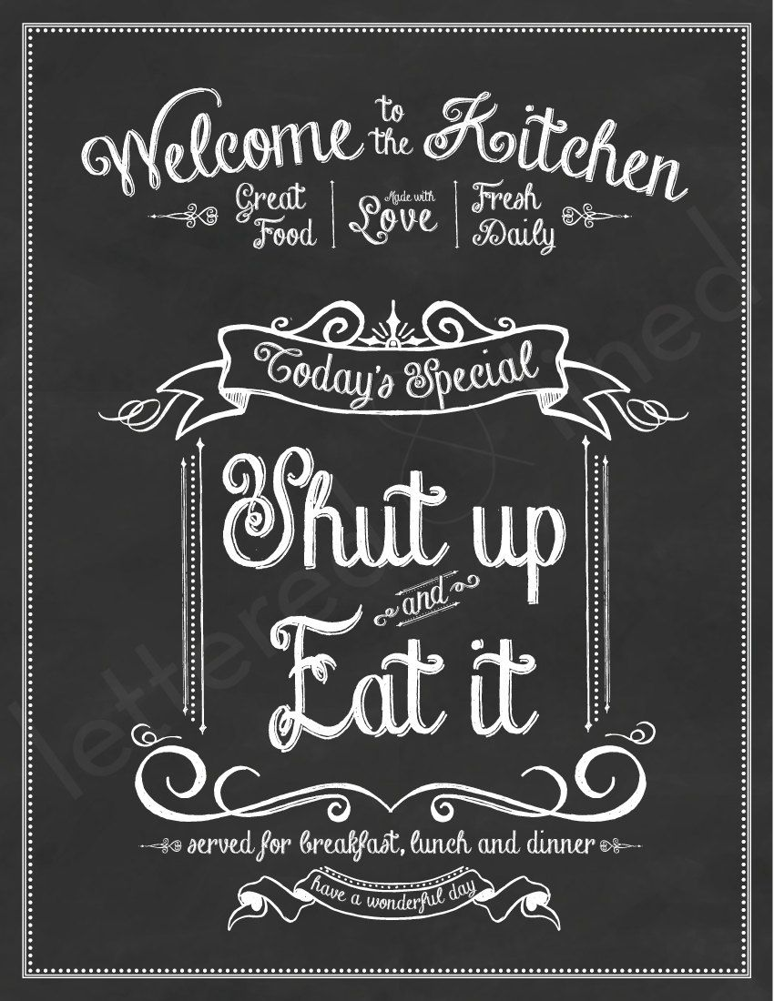 Enjoy the meal and have a nice day clipart chalkboard clip black and white download Shut Up and Eat It - print - Kitchen, Chalk, Chalkboard, Art, Eat ... clip black and white download