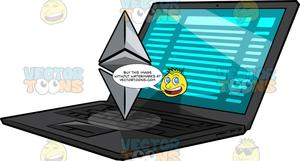 Ethereum logo clipart clip transparent stock A Laptop With A Floating Ethereum Logo clip transparent stock