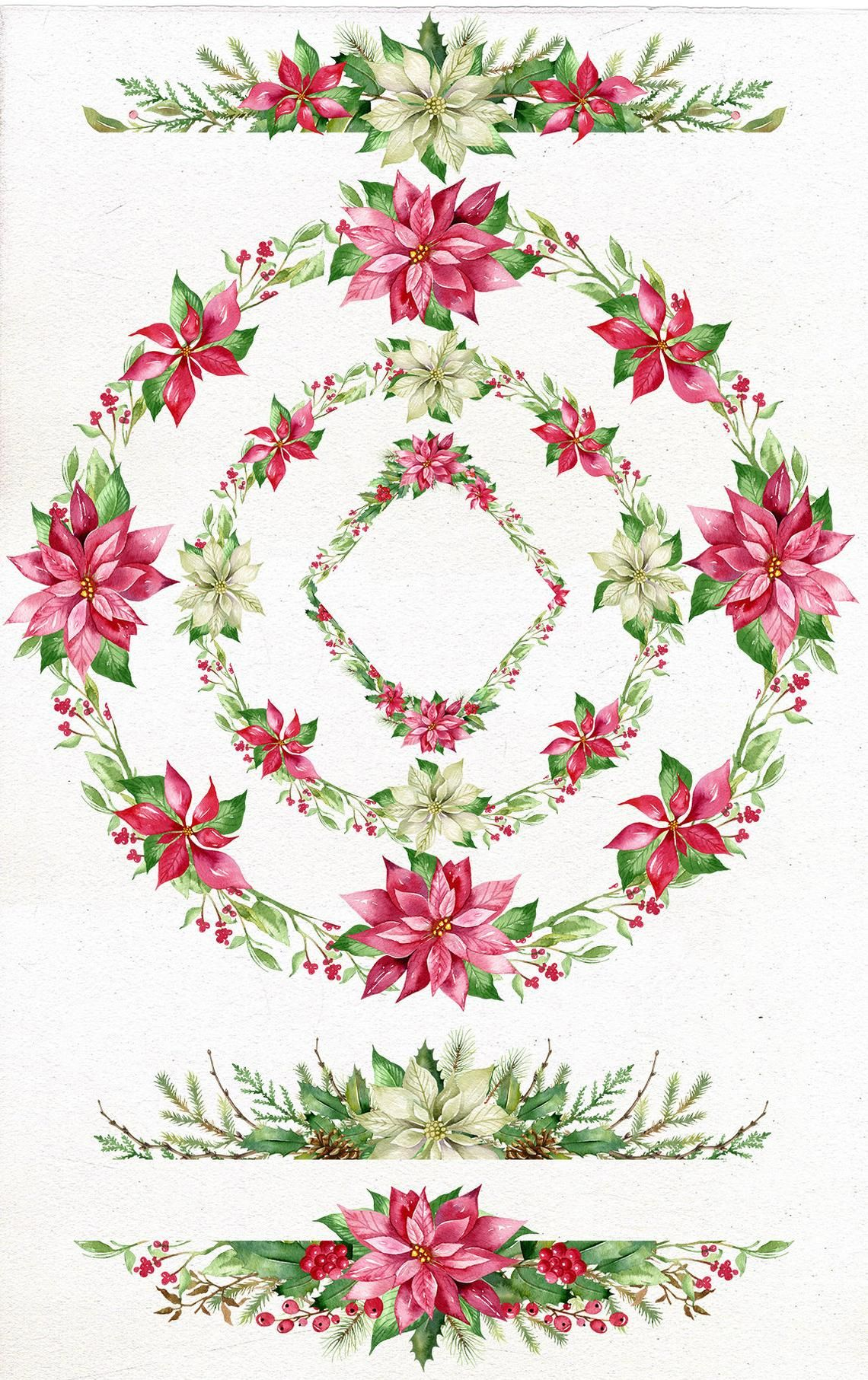 Etsy christmas clipart jpg free download Poinsettia Holly Steams, Christmas Watercolor Border Clip Art ... jpg free download