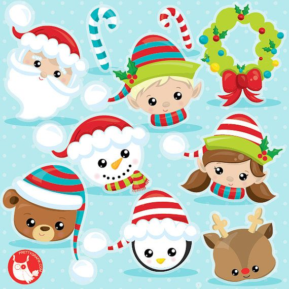 Etsy christmas clipart graphic freeuse download BUY20GET10 - Christmas faces clipart commercial use, Christmas ... graphic freeuse download