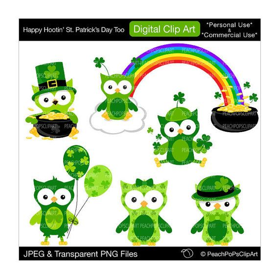 Wise owl st patrick clipart png library stock cute Irish Owls clipart digital clip art green - Happy Hootin\' St ... png library stock