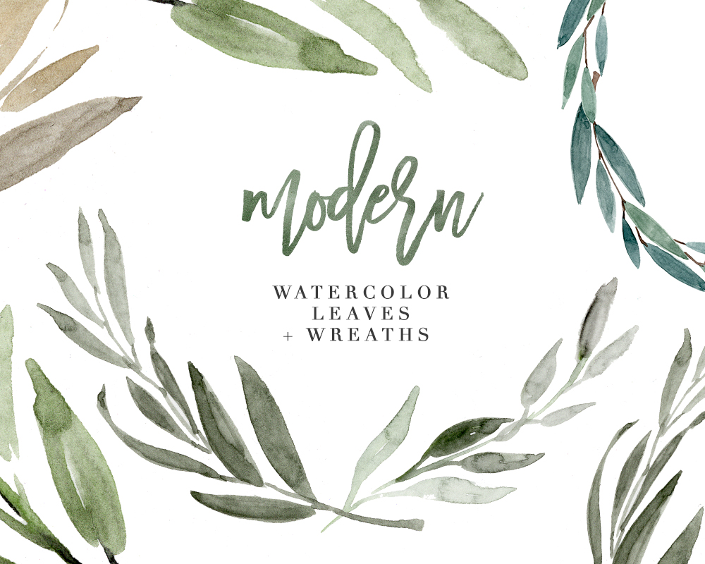 Eucalyptus leaves clipart graphic royalty free Modern Watercolor Leaves Clipart, Eucalyptus Wreath, Greenery Rustic  Wedding Clipart graphic royalty free