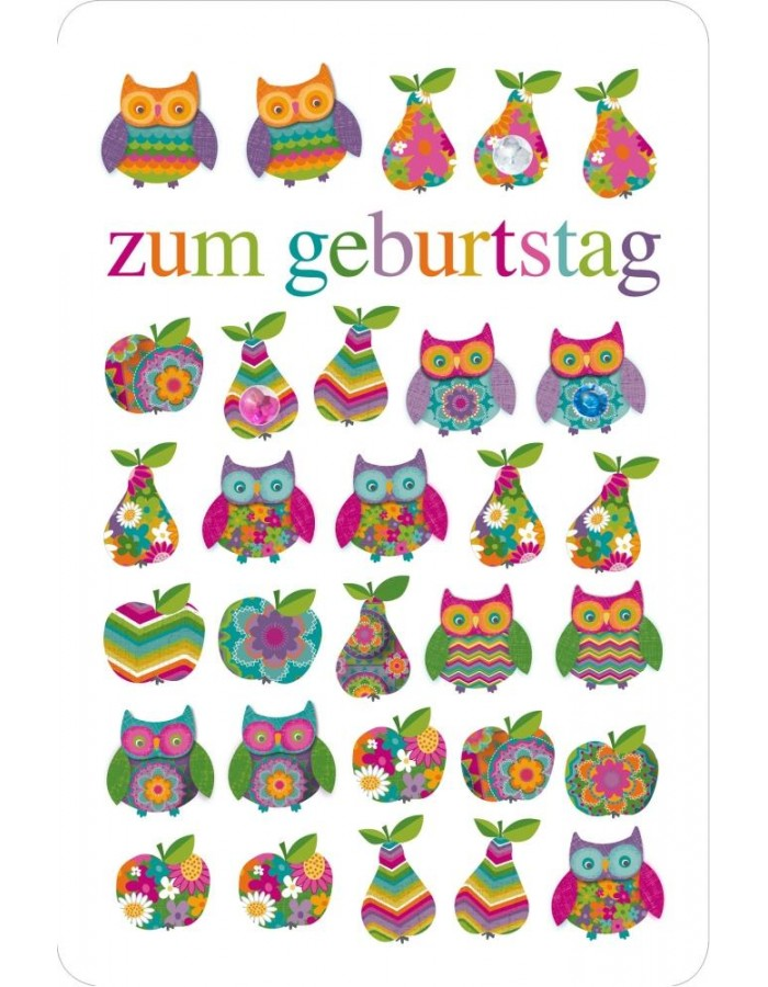 Eule clipart geburtstag banner black and white Artebene Karte Geburtstag/Eule/Glitter ARTEBENE   fotoalben ... banner black and white