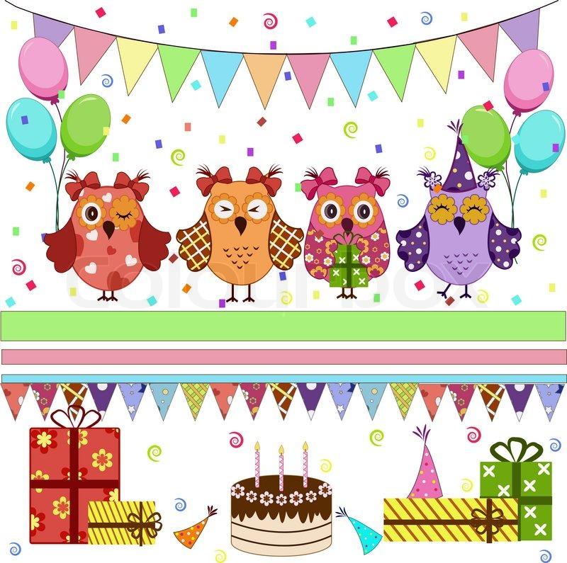 Legen Sie die Geburtstag-Partei-Eulen | Vektorgrafik | Colourbox jpg royalty free stock