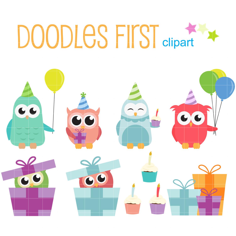 Eule clipart geburtstag jpg Geburtstag Party Eulen Digital ClipArt für Scrapbooking Card jpg