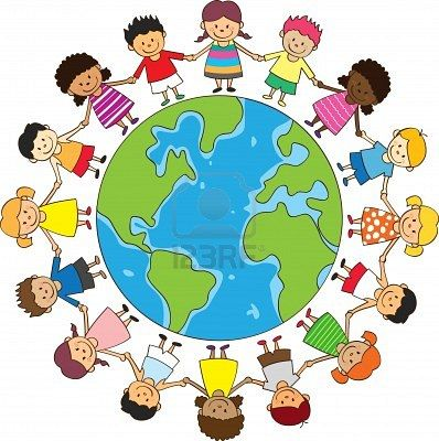 Everybody holding hands over the world clipart vector freeuse download Stock Vector   Primary   Children holding hands, Happy children\'s ... vector freeuse download