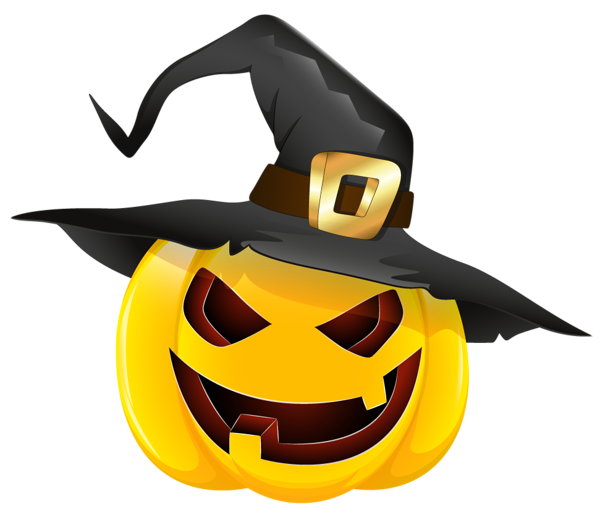 Halloween with witch hat. Evil pumpkin face clipart
