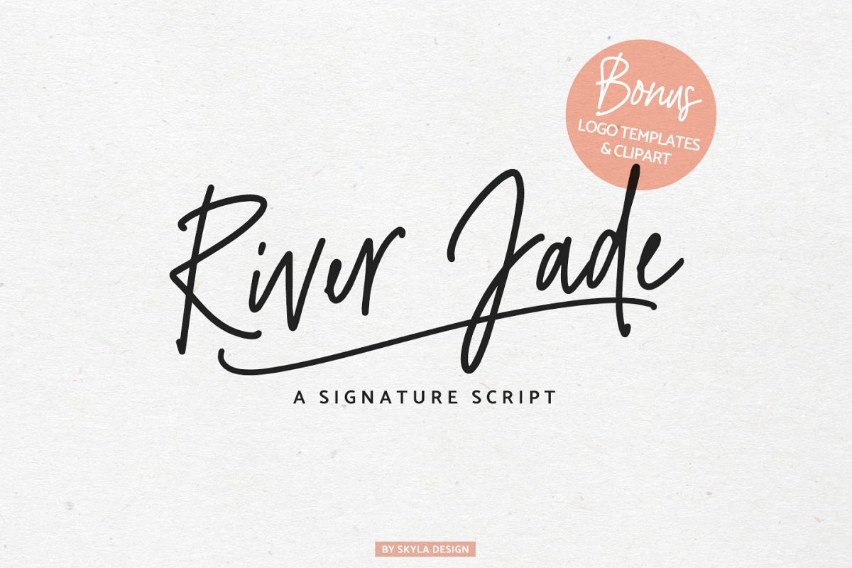 Example logo clipart vector stock River Jade, signature font script, Logos & bonus clipart vector stock