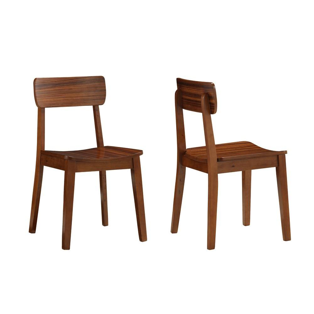 Boraam Zebra Hagen Rich Walnut Wood Dining Chair (Set of 2)-33312 ... clipart transparent