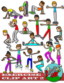 Workout clipart set image black and white library Exercise / Workout Clip art - Set 2 image black and white library
