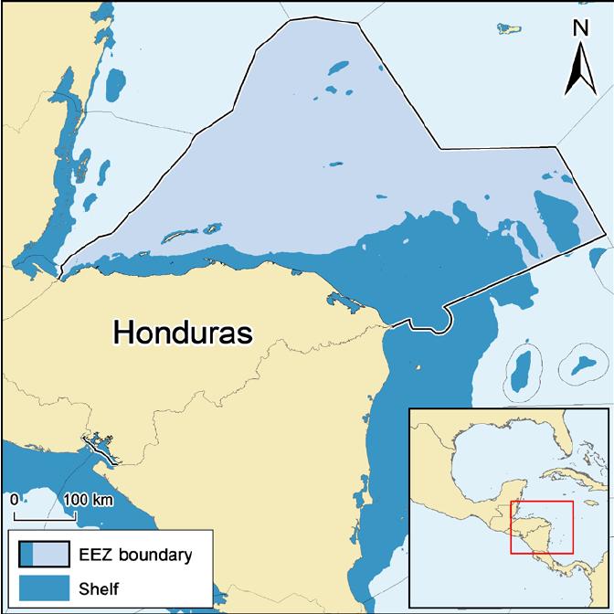 Exclusive economic zone clipart vector black and white stock Map of the Exclusive Economic Zone (EEZ) of Honduras and its ... vector black and white stock