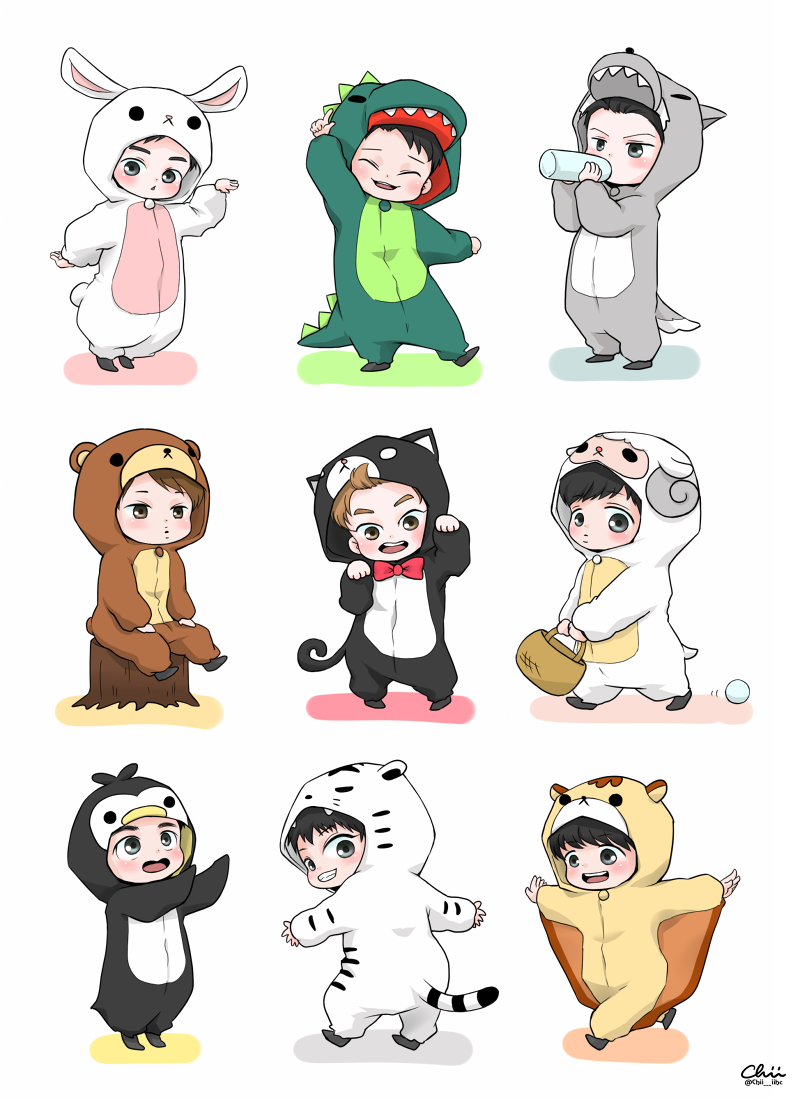Exo chibi clipart clip art free library EXO chibi in costumes   EXO   Exo anime, Exo, Exo cartoon clip art free library