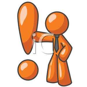 Explination clipart picture free library An Orange Claymation Man Holding an Explanation Point - Royalty Free ... picture free library