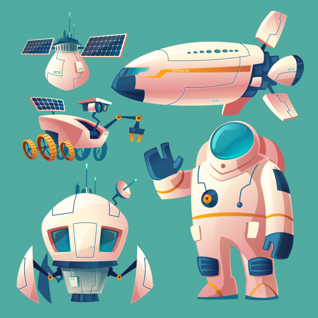 Spaceman shuttle clipart graphic library download Clipart with objects for space exploration, astronaut in spacesuit ... graphic library download