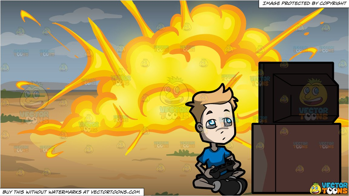 Explosion clipart video clip transparent library A Boy Playing A Video Game and An Outdoor Explosion Background clip transparent library
