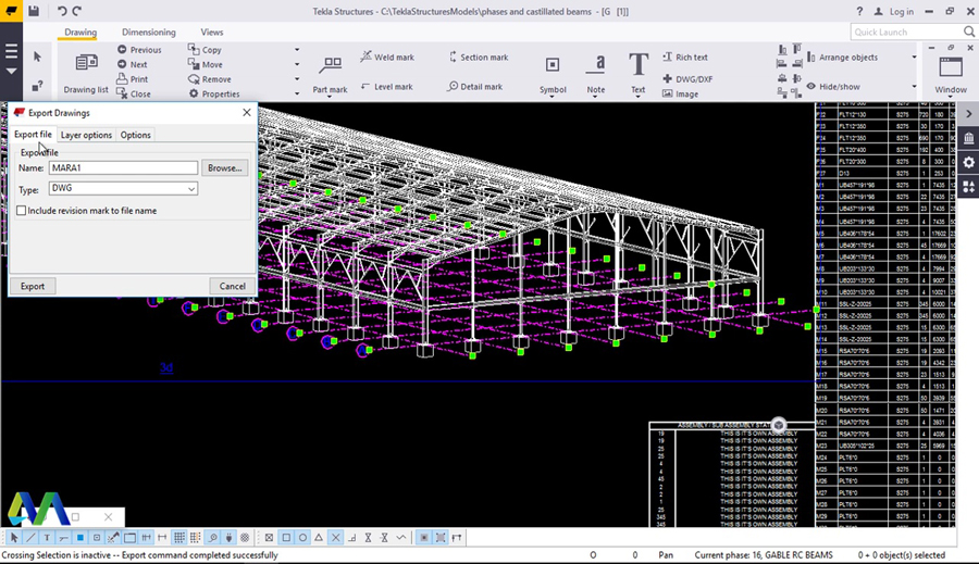 Export clipart autocad clipart black and white library Export Drawings from Tekla Structures to AutoCAD - Civil Engineering ... clipart black and white library