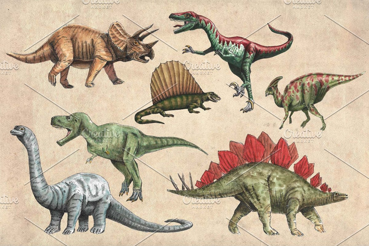 Extreme dinosaurs clipart png library Dinosaurs Watercolour Pack Clipart ~ Illustrations ~ Creative Market png library