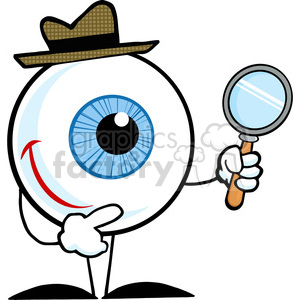 Eye magnifying glass clipart banner free Smiling Detective Eyeball Holding Magnifying Glass clipart. Royalty-free  clipart # 384390 banner free