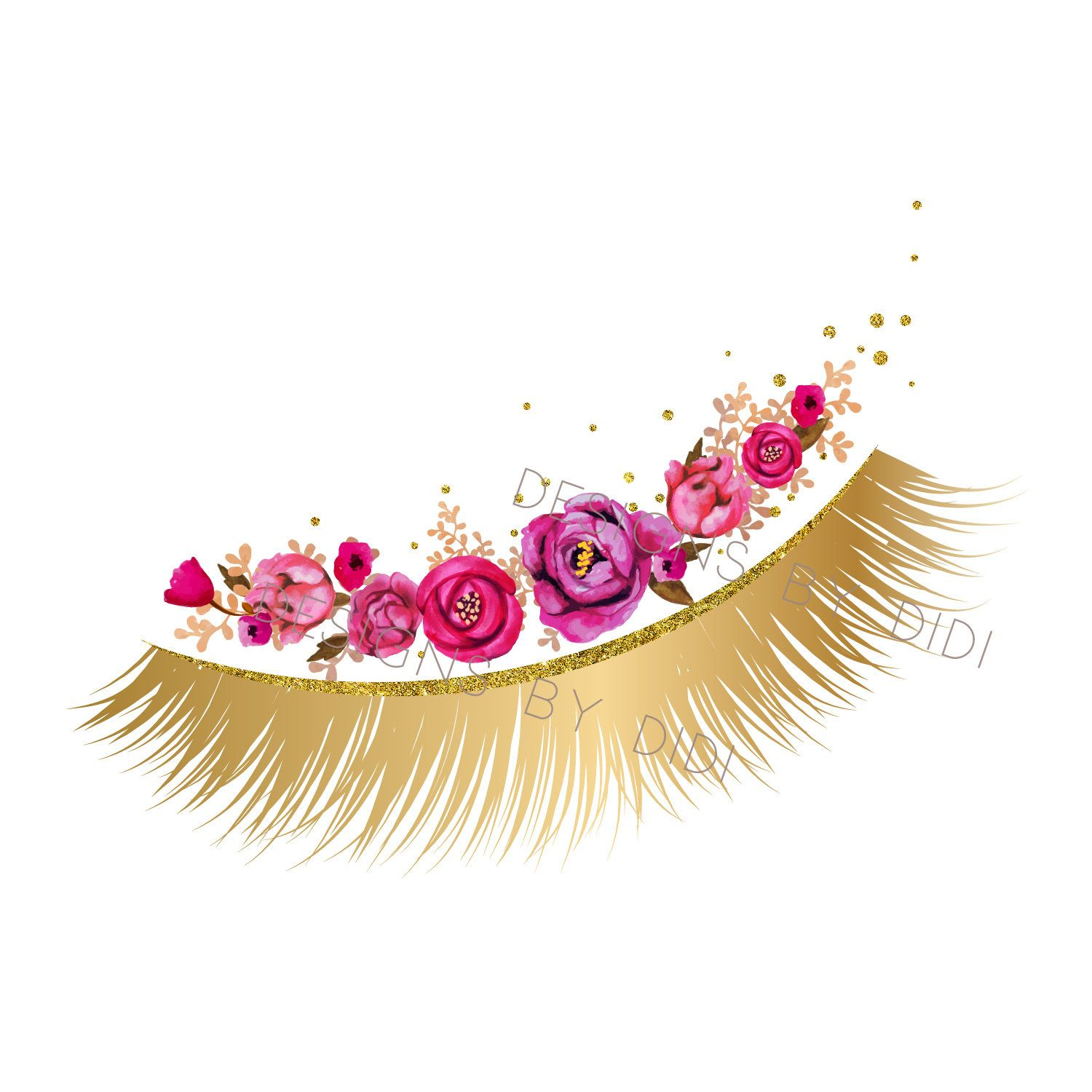 Eyelash logo clipart graphic royalty free download Instant Download, Lash Clipart, pink gold lashes clip art, instant ... graphic royalty free download