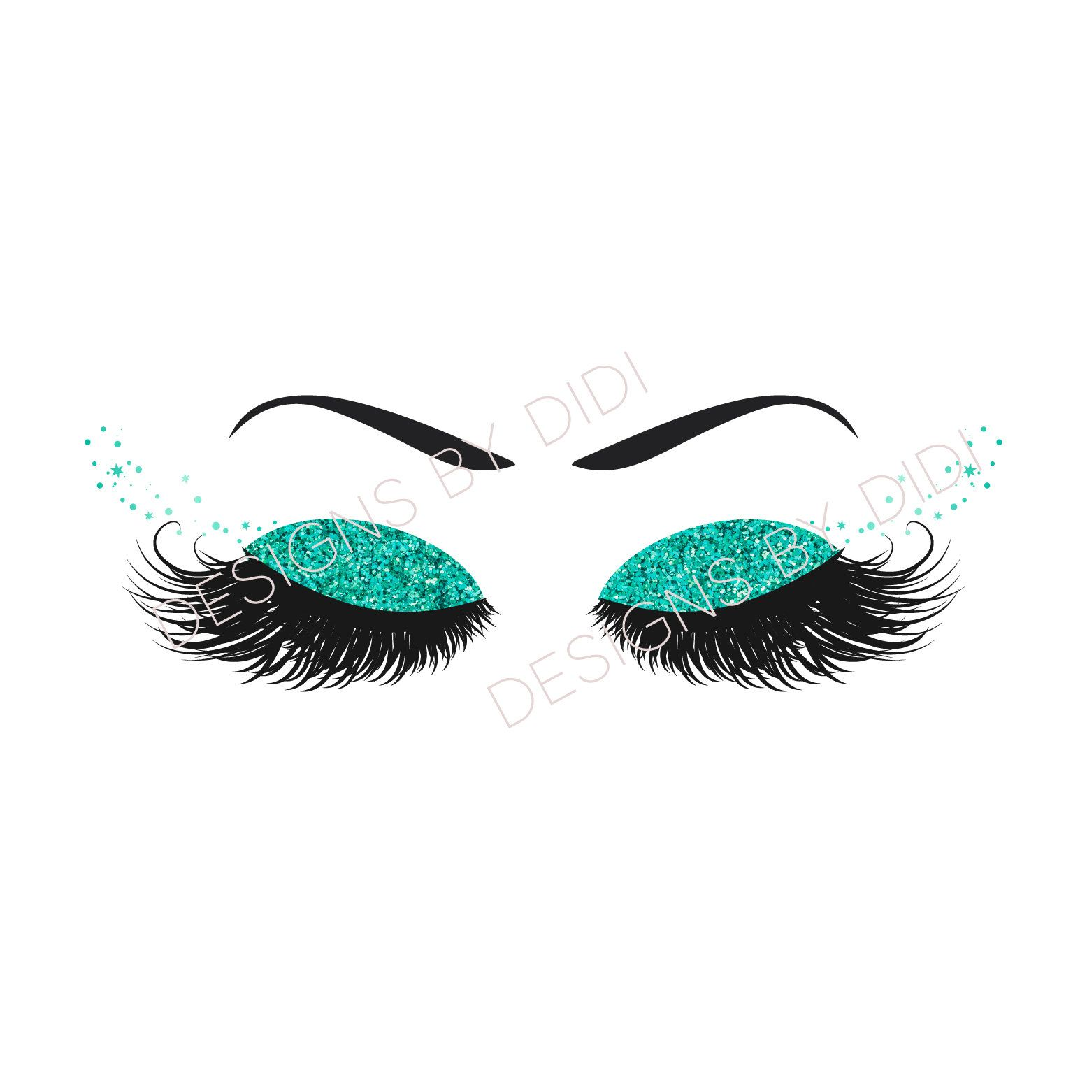 Eyelash logo clipart svg library stock Instant Download, Lash Clipart, glitter teal lashes clip art ... svg library stock
