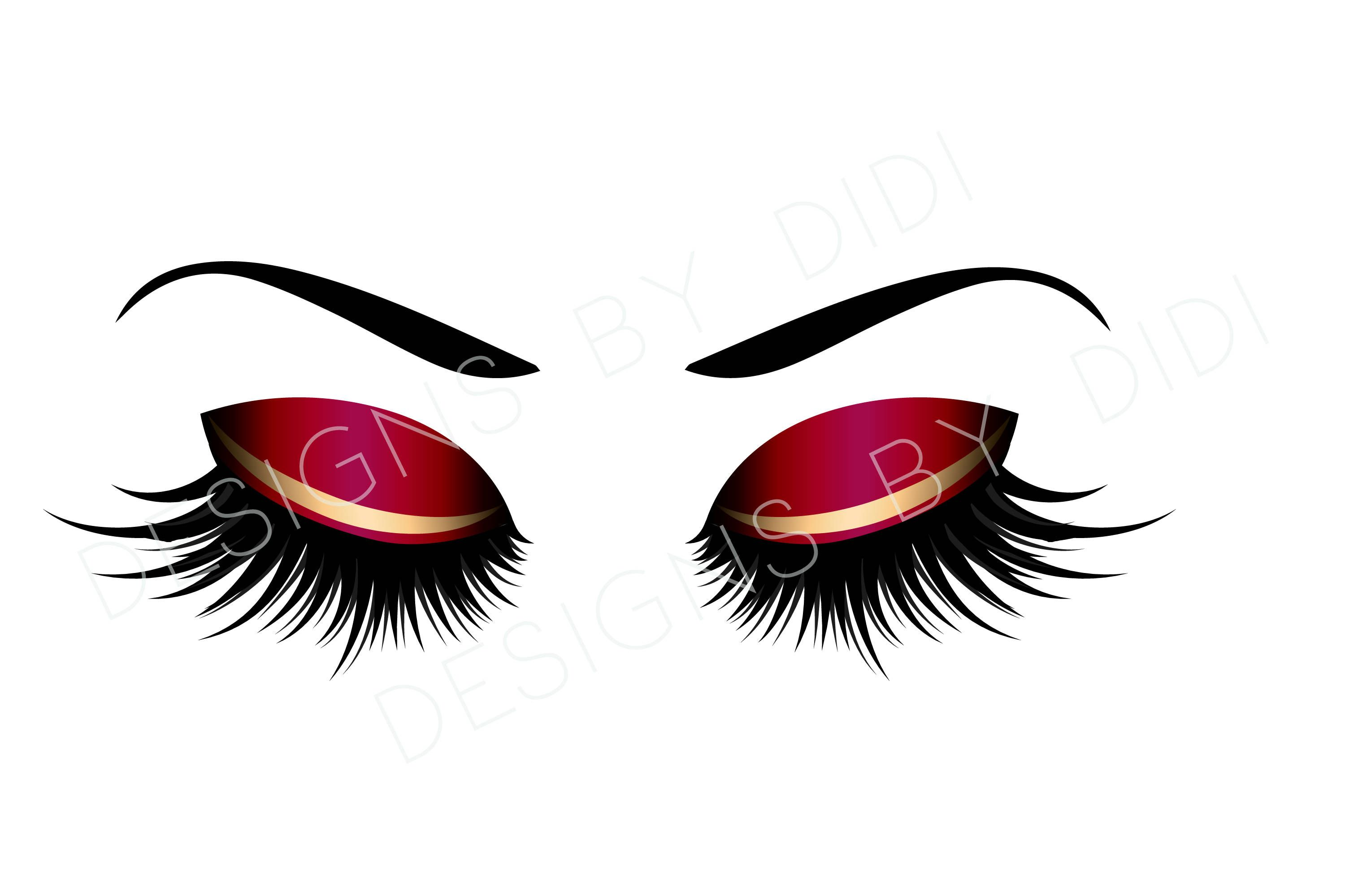 Eyelash logo clipart jpg royalty free library Instant Download, Lash Clipart, red gold lashes clip art, instant ... jpg royalty free library