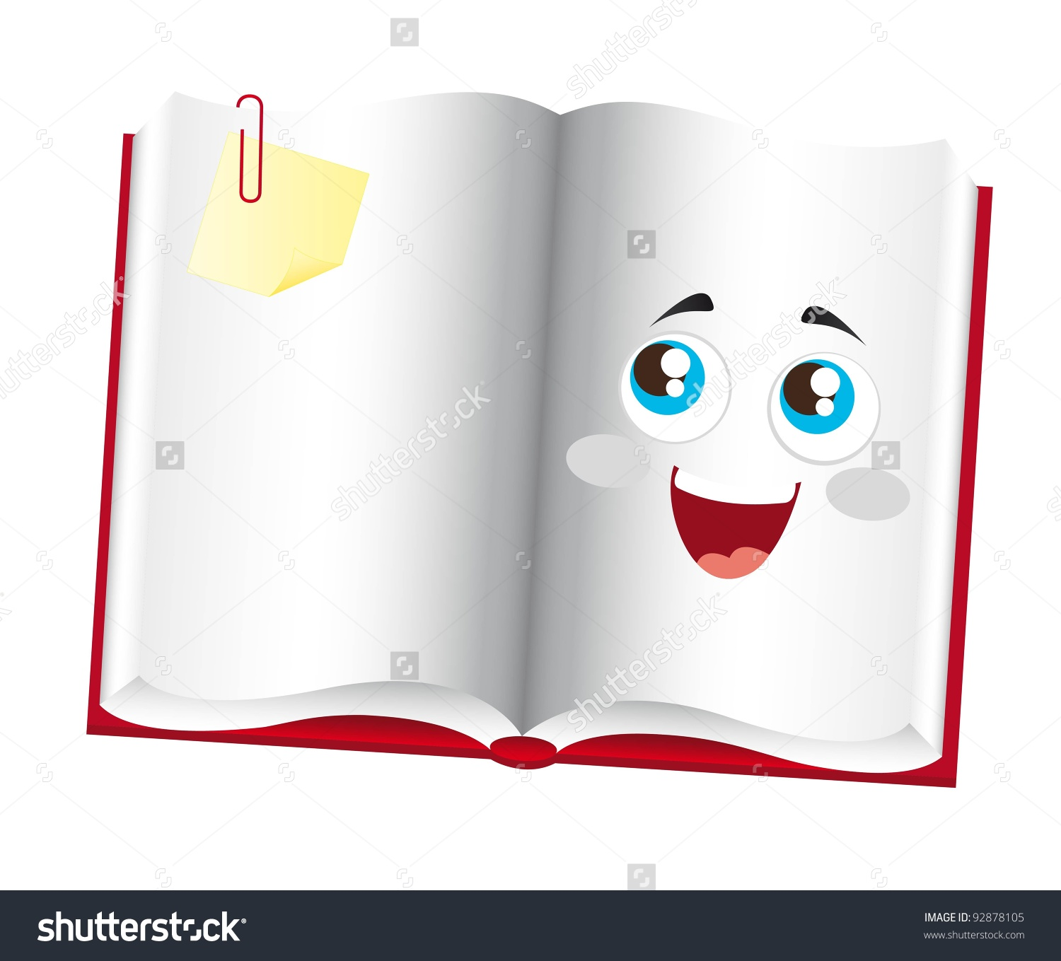 Eyes in book clipart banner freeuse library Cute Book Cartoon Eyes Over White Stock Vector 92878105 - Shutterstock banner freeuse library