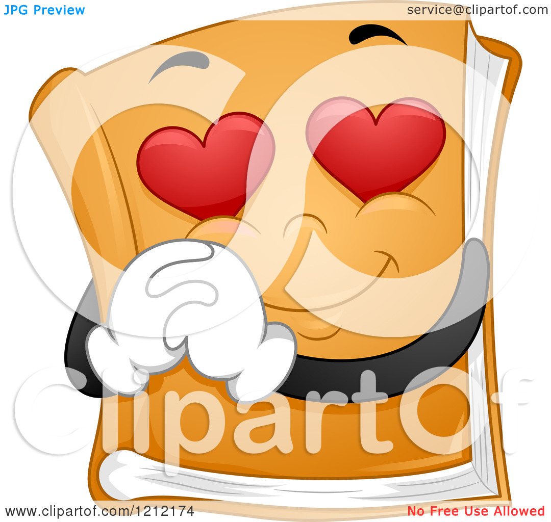 Eyes in book clipart jpg freeuse Cartoon of a Book Mascot with Heart Eyes - Royalty Free Vector ... jpg freeuse