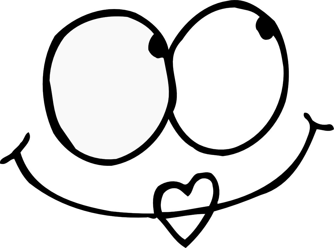 Heart eyes clipart black and white