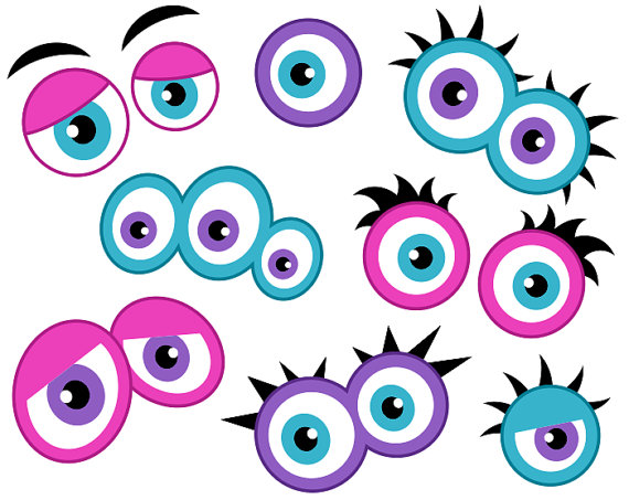 Eyes monster clipart picture freeuse download Girly Monster Eyes Digital Clip Art, Cute Monster Eyes, Girlish ... picture freeuse download