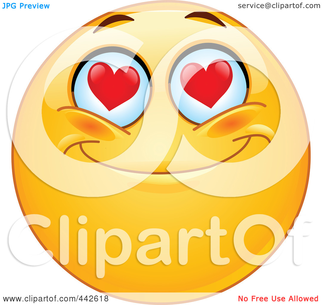 Royalty-Free (RF) Clip Art Illustration of a Romantic Emoticon ... graphic library library