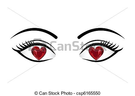 Eyes with hearts clipart image royalty free download Vector Clipart of Love in Eyes - illustration of heart in eyes on ... image royalty free download