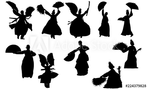 F an clipart silhoute image transparent download Korean Fan Dance svg, dance cricut files, black dancer silhouette ... image transparent download