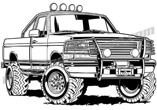 F150 clipart vector stock Ford F-150 black line illustration | Off Road 4x4 Truck Artwork ... vector stock