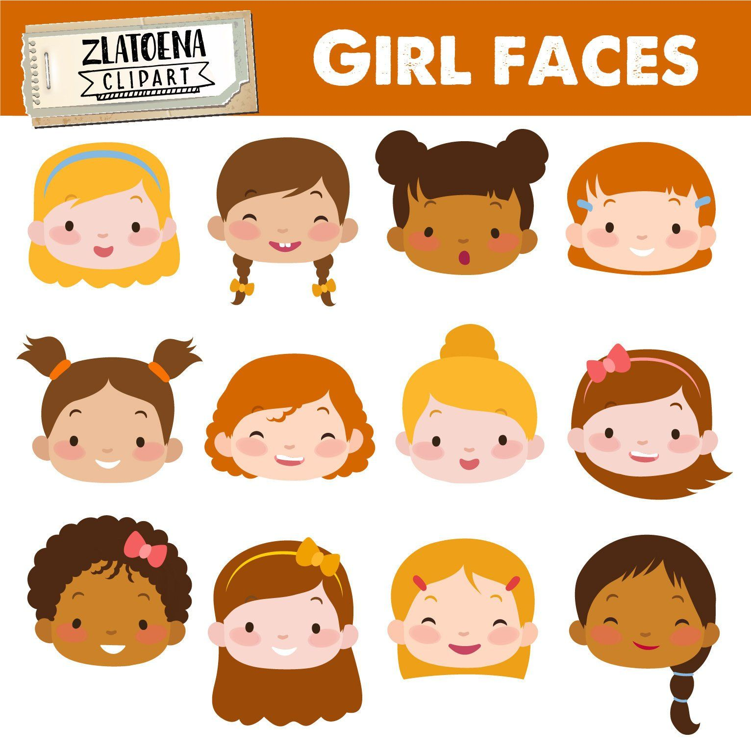 Face clipart girl graphic black and white download Cute Girl Faces clipart Kids Faces Digital Clipart Cute Kids Clip ... graphic black and white download
