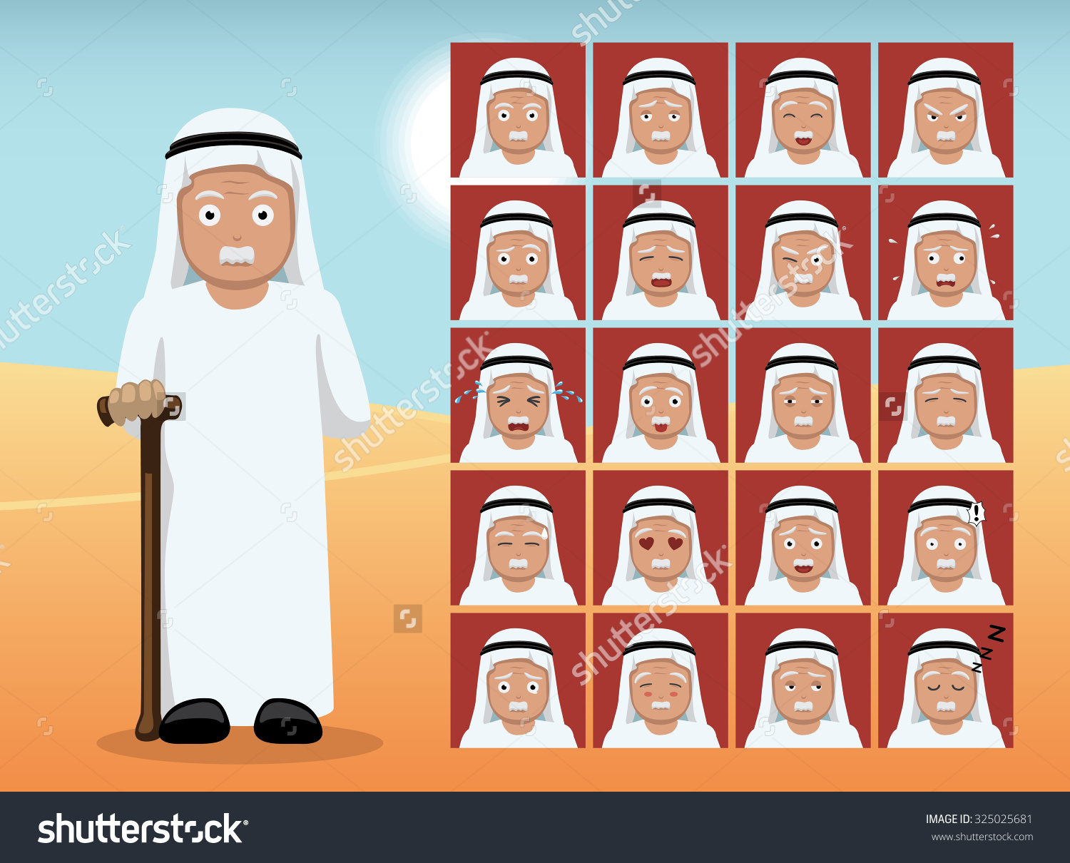 Arab Old Man Cartoon Emotion Faces Stock Vector 325025681 ... svg free stock