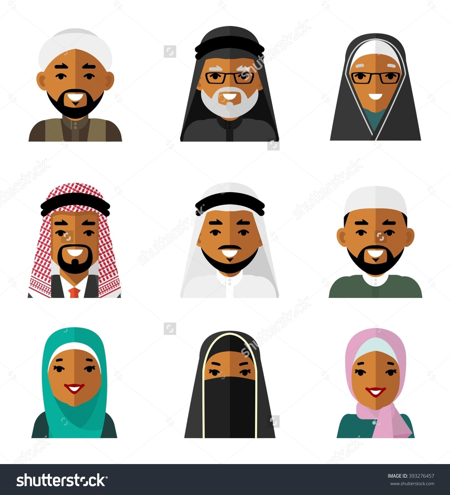 Muslim Arab People Characters Avatars Icons Stock Vector 393276457 ... svg library download