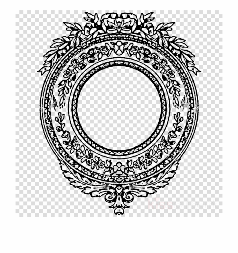 Face outline clipart no background svg black and white library Download Transparent Round Vintage Border Clipart Borders - Face ... svg black and white library