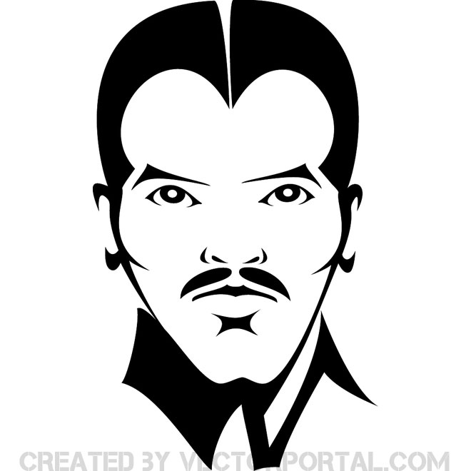 Face vector clipart graphic black and white Face of a man vector - Free vector image in AI and EPS format. graphic black and white