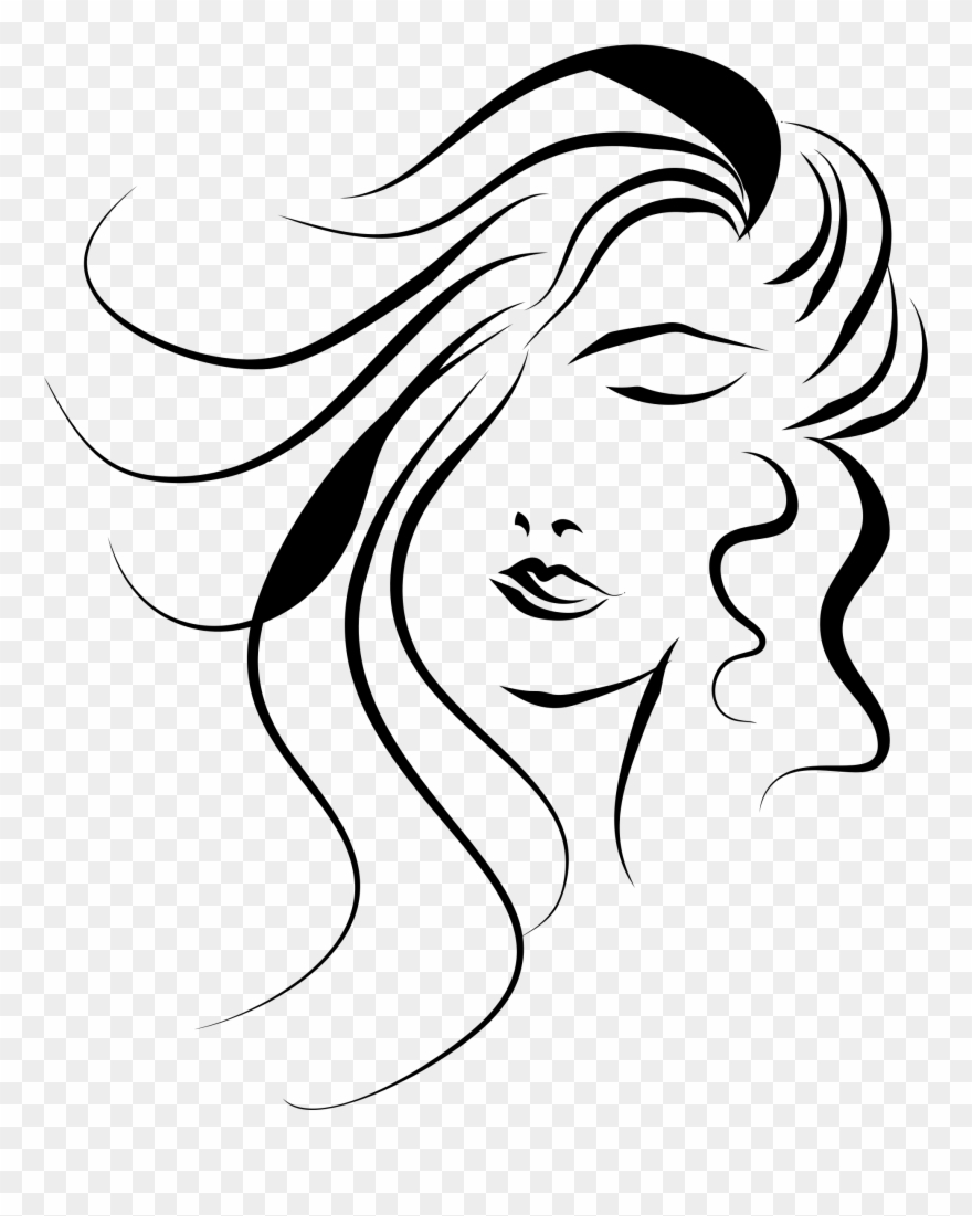 Face vector clipart graphic black and white Girl Face Vector Png Clipart (#39082) - PinClipart graphic black and white