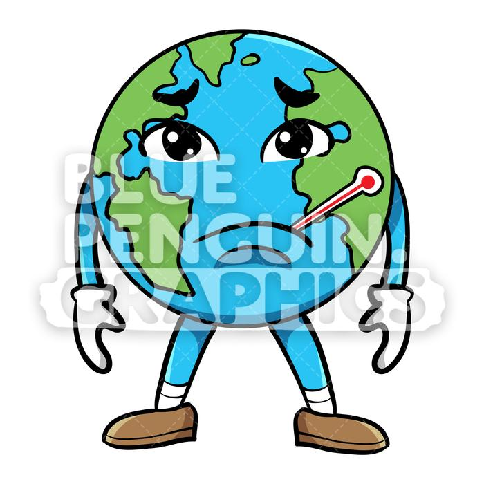 Sick earth clipart black and white Earth Sick with Sad Face Vector Cartoon Clipart Illustration black and white