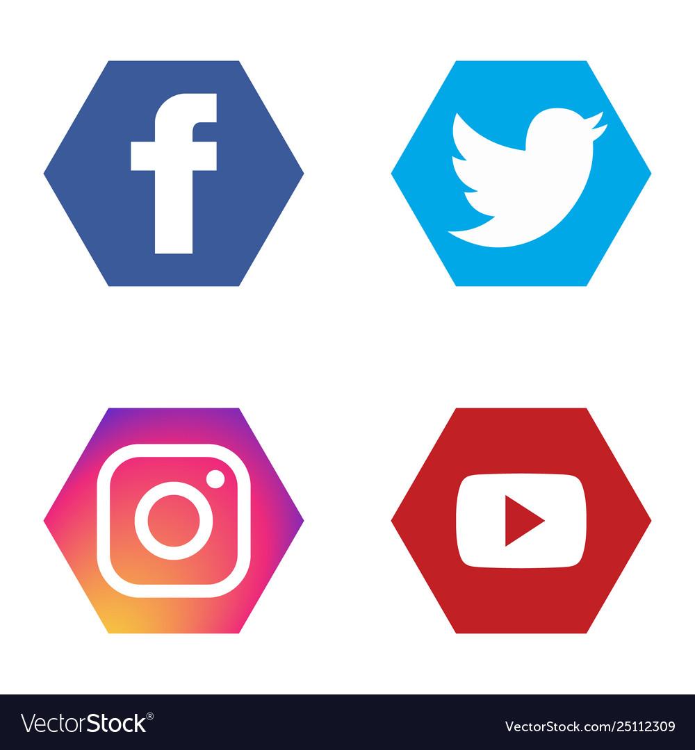 Facebook instagram youtube logo clipart clip art library stock Social icons set fb twitter instagram youtube clip art library stock
