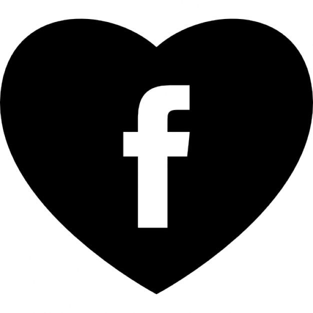 Facebook logo clipart white vector library download Heart with social media facebook logo Icons | Free Download vector library download