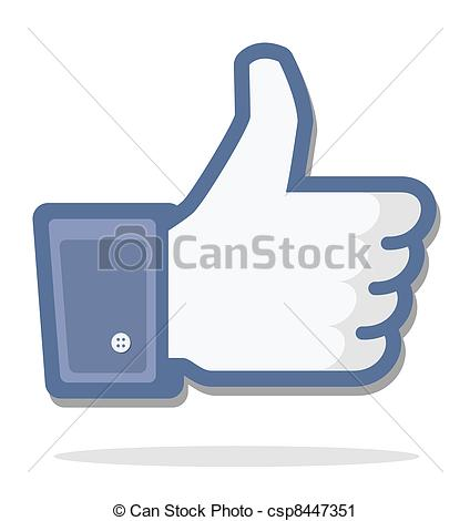 Facebook thumbs up clipart vector black and white download Vector Clip Art of blue thumb up, facebook, editorial use only ... vector black and white download
