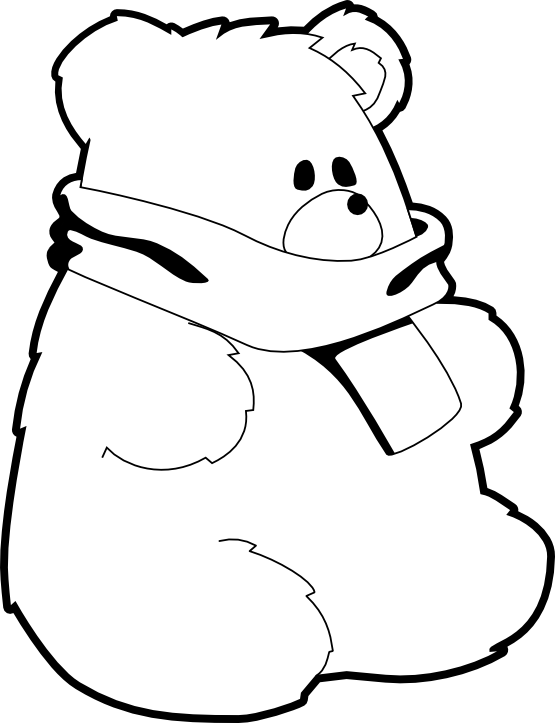 clipartist.net » Clip Art » toy bear red scarf black white line ... png royalty free download