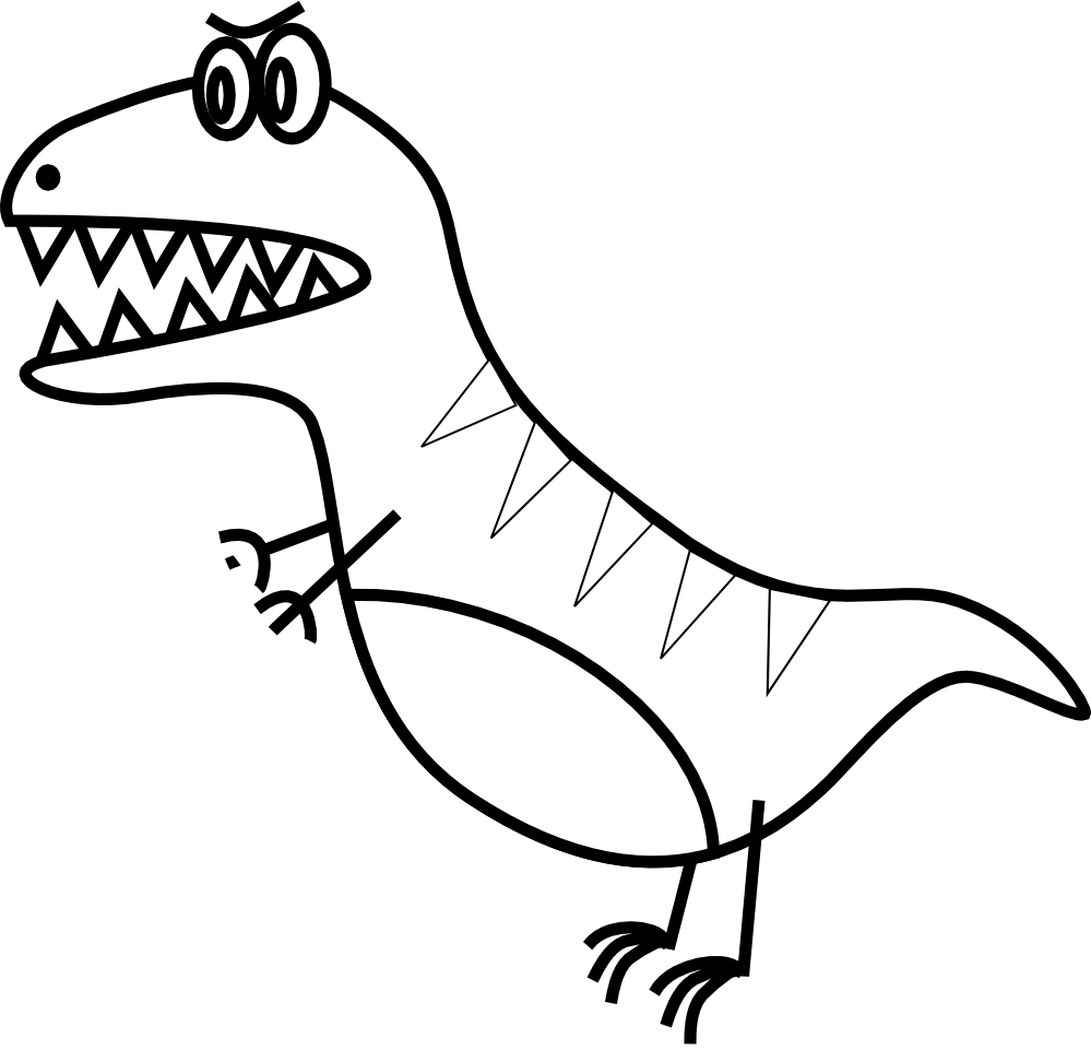 clipartist.net » Clip Art » toy jazzynico dino t rex black white ... jpg free stock