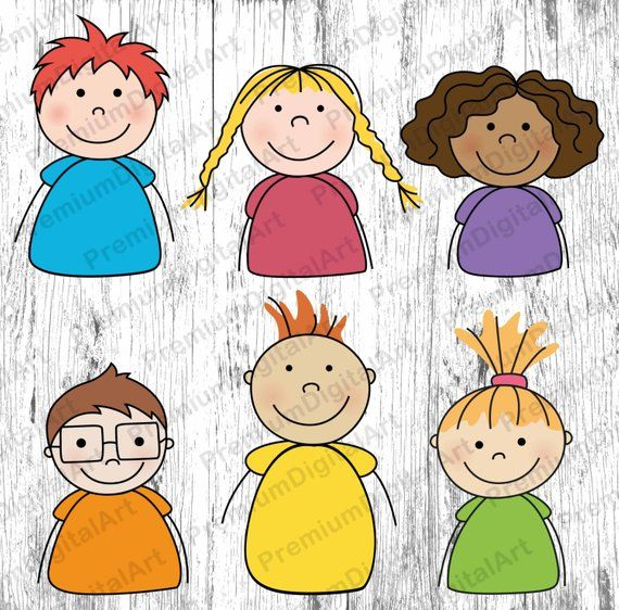 Faces clipart cartoon picture black and white stock 6 Cartoon Kids clipart, Kids clipart, Kids clipart set, digital Kids ... picture black and white stock