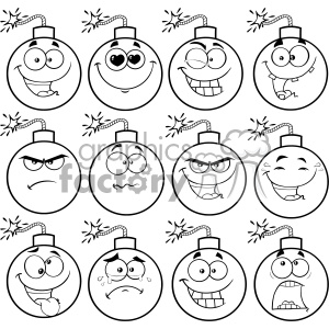 Faces clipart cartoon clipart download 10835 Royalty Free RF Clipart Black And White Bomb Face Cartoon Mascot  Character With Emoji Expressions Vector Illustration clipart. Royalty-free  ... clipart download