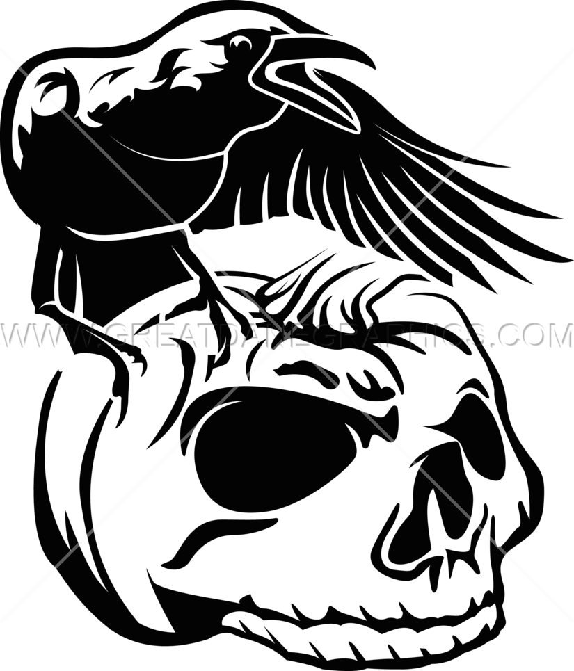 Pumpkin clipart black and white jpg svg free stock Crow Pumpkin Skull   Production Ready Artwork for T-Shirt Printing svg free stock
