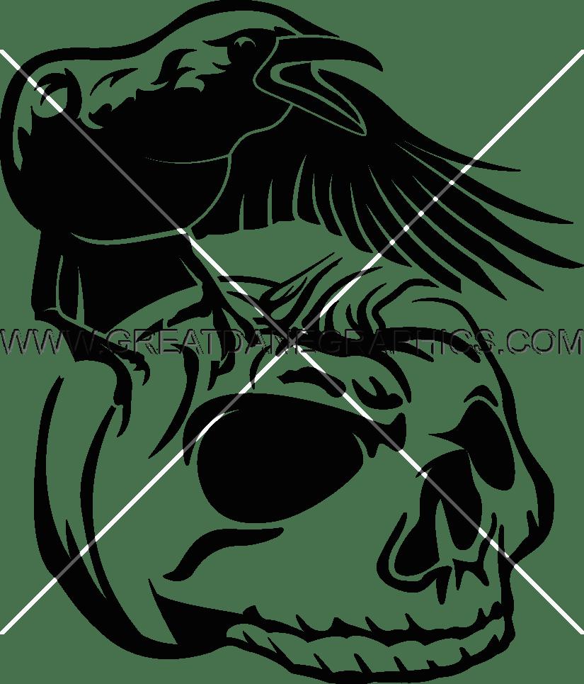 Pumpkin shirt clipart clip black and white library Crow Pumpkin Skull | Production Ready Artwork for T-Shirt Printing clip black and white library